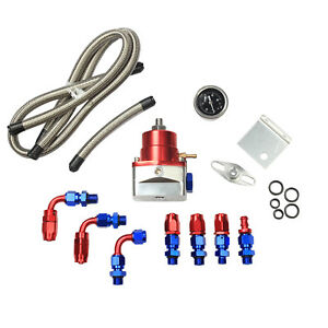 Red Universal Adjustable Fuel Pressure Regulator Kit 100psi Guage An 6 Fitting