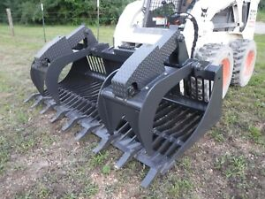 Bobcat Skid Steer Attachment 84 Rock Bucket Grapple With Teeth Ship 199