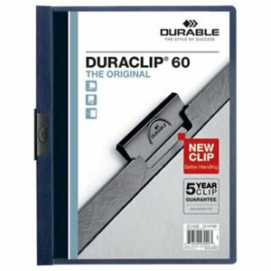 Durable Vinyl Duraclip 60 Report Cover W clip Letter Clear navy dbl221428