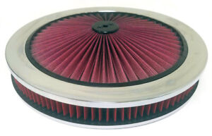 14 X 2 Chrome Red High Flow Thru Washable Air Cleaner Recessed Base Sbc Bbc Ford
