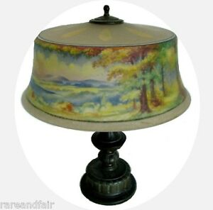 Pairpoint Lamp Reverse Painted Shade Artist Signed