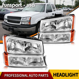 For 2003 2004 2005 2006 Chevy Silverado Avalanche Chrome Headlight Headlamps Set
