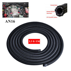 Universal An 16 Oil Fuel Line Gas Radiator Nylon Steel Braided Hose 3 3ft 1m