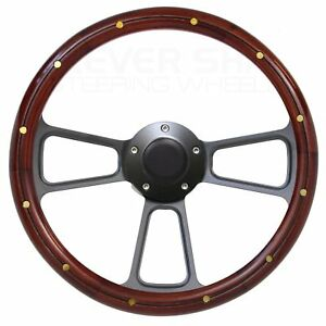 Ford Gran Torino Steering Wheel Real Wood Brass Rivets W billet Horn Button