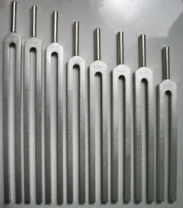 Chakra Set Of 8 Premium Tuning Forks In Red Velvet Pouch Root 194 18