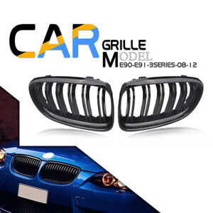 2 Front Kidney Grilles Grill For Bmw 3series E90 E91 Facelift 09 11 Gloss Black