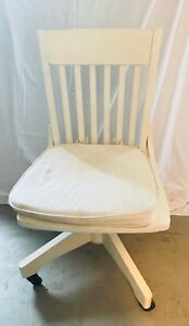 White Pottery Barn Desk Chair Swivel On Rollers W Removable Cushion