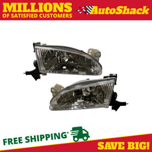 Left Right Pair 2 Head Lamp Assembly W o Bulb Fits 98 1999 2000 Toyota Corolla