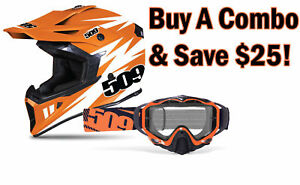 509 Tactical Matte OrangeWhite MX Dirt Bike Helmet with Choice of Goggle