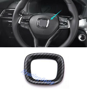 Carbon Fiber Style Steering Wheel Logo Frame Trim For Honda Accord 2018 2019