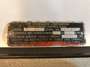 52 1952 Studebaker Truck Cowl Data Body Plate Trim Code Tag