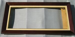 Antique Vintage Mid Century Modern Long Wood Linen Picture Frame 10 X 23 1 4