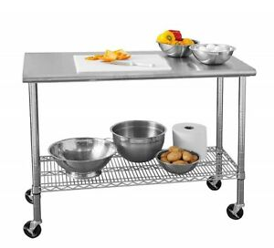 Industrial Kitchen Cart Commercial Stainless Steel Top Work Table With Shelf