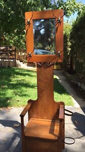 Antique Oak Hall Tree W Bench Storage