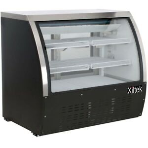 New Xiltek 48 Commercial Refrigerated Curved Glass Display Deli Case