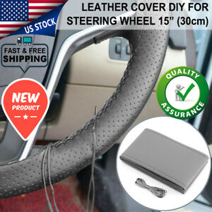 15 Inch Pu Leather Diy Car Steering Wheel Cover Protector Needles