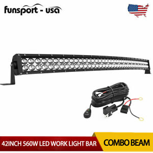 Curved 42inch 560w Led Light Bar Offroad Flood Spot Truck 4x4wd Driving