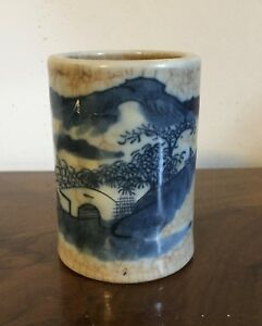 Antique Chinese Porcelain Brush Pot Blue Landscape Crackle Glaze 19th C Vase