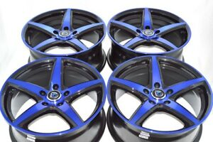 4 New Ddr St1 17x7 5 5x114 3 38mm Black polished Blue 17 Wheels Rims