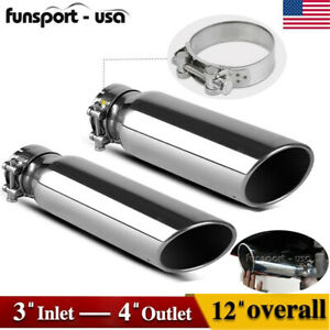 2pcs 3 inlet 4 outlet Polished Stainless Steeel Exhaust Tip Slant Cut Tail Pipe