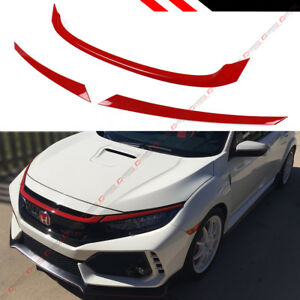 For 2016 2020 Honda Civic Jdm Glossy Red Abs Front Grill Trim Cover Garnish 3pc