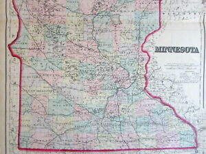 Minnesota Large State By Itself C 1867 Colton Detailed Hand Color Old Map