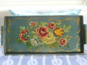 Large Hand Painted Antique Victorian Tole Roses Tulips French Blue Wood Tray