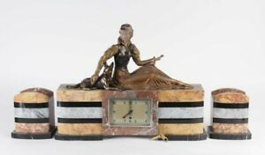 French Art Deco Clock Garniture Diane Hunter German Shepherd 26 Spelter Marble