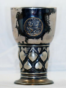 Vintage Antique 1926 German Hunting Goblet 800 Solid Coin Silver Chalice