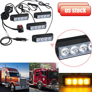 4x 4led Strobe Car Flashing Amber Light Waterproof Cigarette Lighter Lamp 12 24v