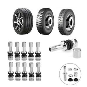 10pcs Stainless Steel Wheel Tire Valve Stems Hight Pressure Bolt In With Caps