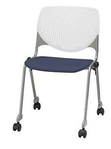 Kool Poly Caster Stack Chair With Perforated Back Grape