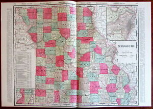 Missouri State By Itself C 1880 S Large Lithographed Hand Color Old Map
