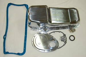Sbc Polished Aluminum Finned Oil Pan Gasket Timing Cover Kit Small Block Chevy