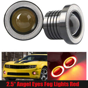 2 5 Inch Cob Led Fog Light Projector Car Lamp Red Halo Angel Eyes Ring Drl