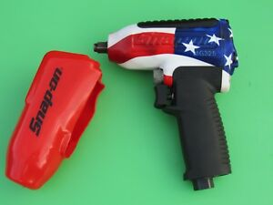 Snap On Red White Blue Mg325 Flag 3 8 Drive Impact Air Wrench Gun W boot