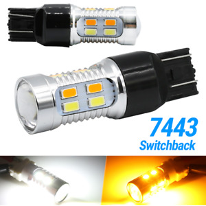 7443 7440 7444 Led Turn Signal Switchback White Amber Drl Parking Light Bulbs
