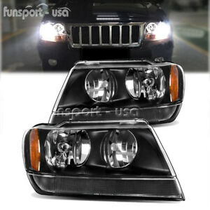 Black Housing For 1999 2004 Jeep Grand Cherokee Amber Corner Headlight Lamp Set