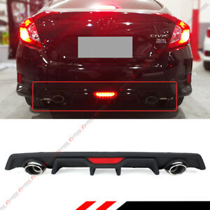 For 16 18 Honda Civic Red Led Dual Exhaust Rear Bumper Diffuser axle Back Pipes