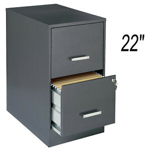 Metal 22 2 drawer Office File Cabinet Dark Gray With Lock Letter Storage