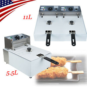 5 5l 11l Electric Countertop Deep Fryer Dual Tank Commercial Restaurant Usa Sale