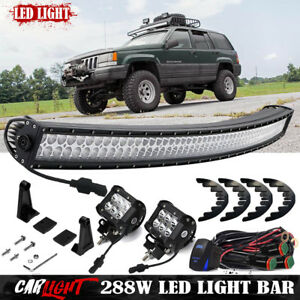 Jeep Grand Cherokee Zj Upper Roof Windshield 50 Curved Offroad Led Lights Bar