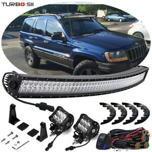 05 10 Jeep Grand Cherokee Wk Street Legal 50 Curved Led Offroad Light Bar Combo