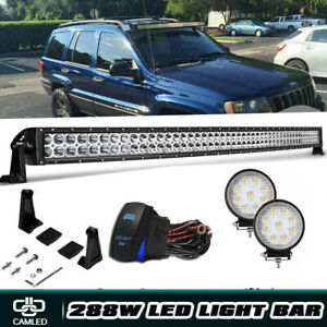 2005 10 Jeep Grand Cherokee Wk 50 Inch Curved Led Offroad Light Bar 4 Pods Cube