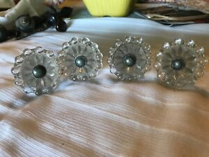 4 Antique Vintage Clear Crystal Glass Door Knobs Hardware