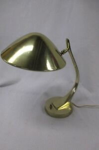 Vintage Mid Century Modern Laurel Brass Gold Saucer Mushroom Desk Lamp
