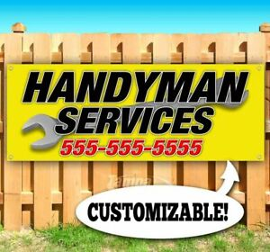 Handyman Services Custom Ph Number Advertising Vinyl Banner Flag Sign Many Sizes