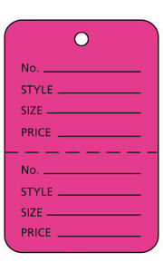 2000 Perforated Tags Price Sale Large 1 X 2 H Two Part Hot Pink Coupon Tag