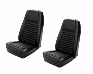 1969 Mach I Highback Seat Cover Upholstery Set Front Only Black W Blk Stripe