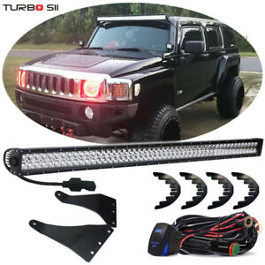 50 Straight Led Light Bar upper Roof Brackets W plug play Wiring For Hummer H3